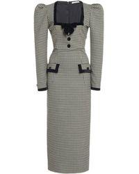 Alessandra Rich Velvet-trimmed Gingham Wool-blend Midi Dress - Black