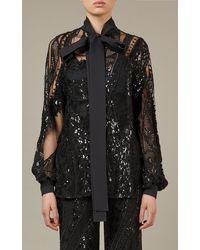 Elie Saab Embroidered Tulle Top - Black
