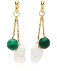 Haute Victoire - 18k Gold, Malachite And Pearl Earrings - Lyst