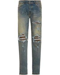 Amiri Mx1 Distressed Slim-leg Jeans - Multicolour