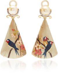 Silvia Furmanovich 18k Gold, Marquetry, Diamond And Pearl Earrings - Metallic