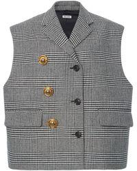 Miu Miu Checked Cady Vest - Black