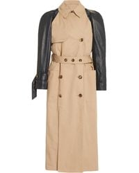 ROKH - Belted Leather-sleeve Cotton-gabardine Trench Coat - Lyst