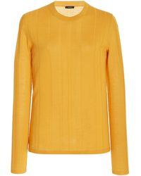 JOSEPH Ribbed-knit Wool-blend Top - Orange