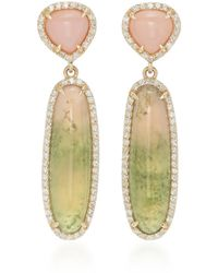 Sheryl Lowe 14k Gold, Diamond And Tourmaline Earrings - Metallic