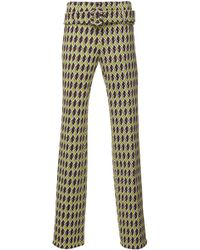 Prada Belted Jaquard Trousers - Multicolour