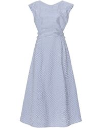 Thierry Colson Olga Striped Cotton Seersucker Midi Dress - Blue