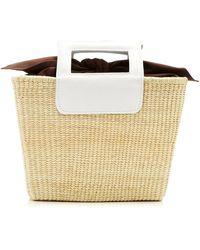 Sensi Studio Leather-trimmed Straw Tote - White
