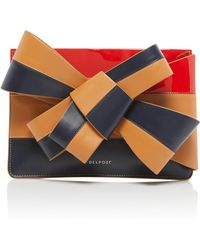 Delpozo - Large Bow-detailed Color-block Leather Cutch - Lyst