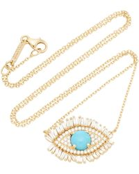 Suzanne Kalan - 18k Gold, Diamond And Turquoise Necklace - Lyst