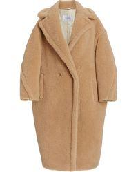 Max Mara Oversized Teddy Cocoon Coat - Multicolor