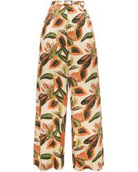 Lena Hoschek - Rio Printed High-waisted Wide-leg Trousers - Lyst