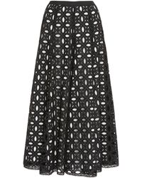 Andrew Gn Pleated Potton-broderie Anglaise Midi Skirt - Black