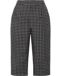 Isa Arfen Checked Silk Capri Trousers - Black