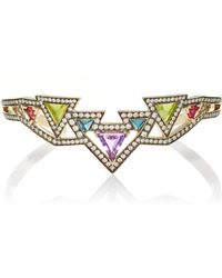 Noor Fares - Sri Yantra Cuff In Grey Gold With Various Coloured Stones & Diamonds - Lyst