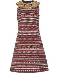 Holly Fulton - Sleeveless A Line Dress With Embroidered Neckline - Lyst