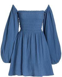 Cloe Cassandro Agatha Smocked Cotton Off-the-shoulder Mini Dress - Blue