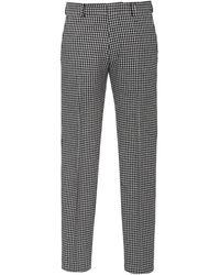 AMI Houndstooth Wool-blend Straight-leg Pants - Black