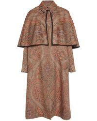 Etro Collared Paisley Wool-silk Coat - Brown