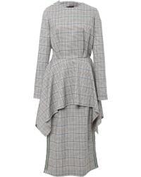 Echtego - Brooks Checked Draped Dress - Lyst