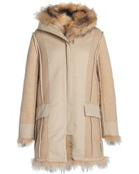 Paco Rabanne Hooded Faux Fox Fur Coat - Multicolour
