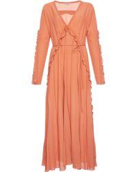 Bottega Veneta - Fluid Silk Georgette V-neck Dress - Lyst