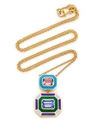 Sig Ward 18k Gold, Pink Tourmaline, Tanzanite And Enamel Necklace - Multicolour
