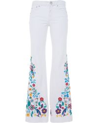 Zuhair Murad | Flared Denim Pants With Multicolor Raffia Embroidery | Lyst