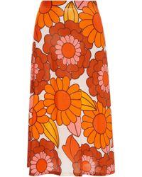 Dodo Bar Or Odetta Floral-print Midi Skirt - Orange