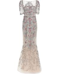 Marchesa Beaded Embroidered Tulle Gown - Gray