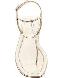 Prada T-strap Leather Sandals - Metallic