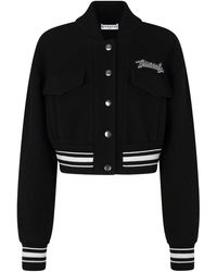 Givenchy Logo-embroidered Wool Bomber Jacket - Black