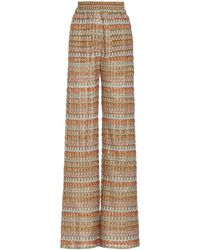 Alexis Xavier Chevron-knit Wide-leg Trousers - Multicolour