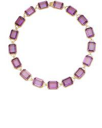 Goshwara 18k Yellow Gold Amethyst, Diamond Necklace - Purple