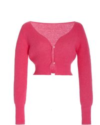 Jacquemus Alzou Mohair-blend Cropped Cardigan - Pink