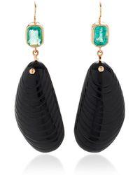 Dezso by Sara Beltran - Shell Onyx Earrings With Emerald Tops - Lyst