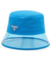 Prada Pvc And Shell Bucket Hat - Blue