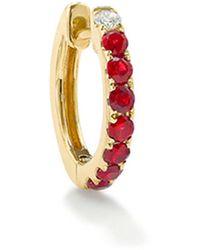 Robinson Pelham 14k Yellow Gold Diamond & Ruby Large Orb Hoop - Red