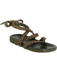 Johanna Ortiz Daal Raffia And Leather Sandals - Green