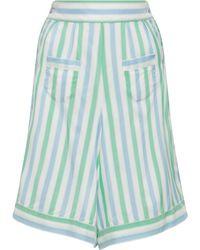 Thierry Colson - Striped Long Silk Shorts - Lyst