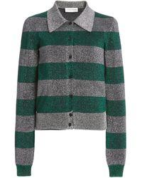 Victoria Beckham Metallic Striped Cotton-blend Knit Top - Multicolour