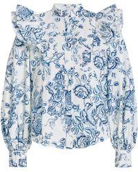 Erdem Caterina Ruffled Cotton Button-down Shirt - Blue