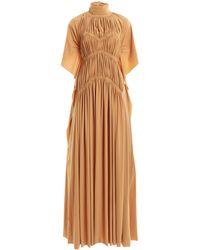 Victoria Beckham High-neck Smocked Stretch Jersey Maxi Dress - Multicolour