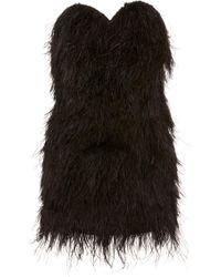 Michael Lo Sordo Ostrich Feather-embellished Mini Dress - Black