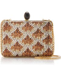 Oscar de la Renta Rogan Sequined Gold-tone Satin Clutch - Metallic