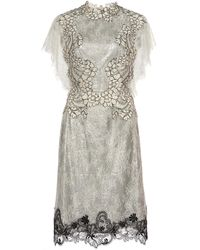 Costarellos Sequin-embellished Chantilly Lace Dress - Metallic