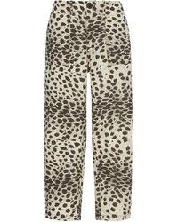 Sea Leo High-waisted Cropped Cheetah-print Cotton Trousers - Multicolour