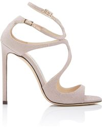 Jimmy Choo - Lang Asymmetric Glittered Leather Sandals - Lyst