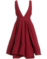 Brock Collection Quesyn Bow-detailed Linen Mini Dress - Red