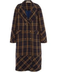 Péro Oversized Embroidered Double-breasted Plaid Wool Coat - Blue